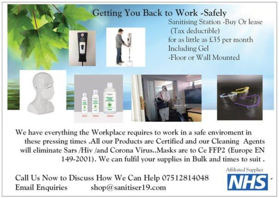 Getting You Back to Work Safely – Sanitiser19.com